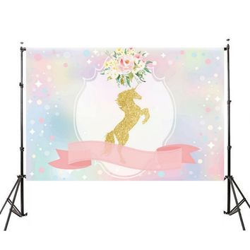 150X90cm / 210X150cm For Unicorn Ribbon Flowers Baby Vinyl Party Photo Backgrounds Studio Props Backdrops