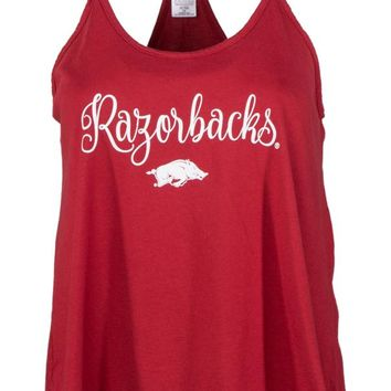 Official NCAA University of Arkansas Razorbacks GO BIG RED HOGS! Arkansas Fight!  Women's Rayon Spandex Lamp Shade Hi-Lo Tank