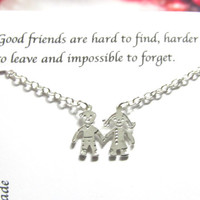 Silver Boy and Girl Necklace, Opposite-sex Friendship Necklace |A5| Best friend necklace, best friend gift, birthday gift for best friend