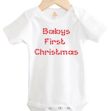 Baby's First Christmas Onesuit // Chirstmas baby clothing // Holiday // candy cane
