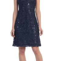 Knee Length Cap Sleeve Sequin Embellished Dress Navy Blue