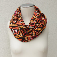 Graphic Orange Infinity Scarf - Orange Brown Circle Scarf - Jersey Orange Loop Scarf - Orange Brown Cowl - Orange Graphic Eternity Scarf