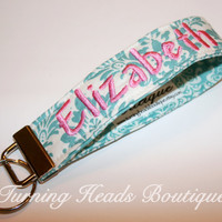 Monogrammed Fabric Key Fob / Personalized Key chain /  Wristlet Camera Strap / Fabric Keychain