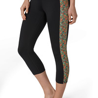Spacedye Side Performance Fabric Capri - Black