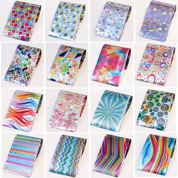16Pcs Colorful Shimmer Starry Sky Nail Foils 4*20cm Nail Starry Glitter Transfer Sticker Foil Paper DIY Nail Art Decorations