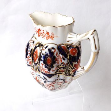 Antique Foley China Daisy Shape Jug / Wileman Imari 6075 Pattern Pre Shelley Creamer / 1888 Victorian English Porcelain Jug / English Imari