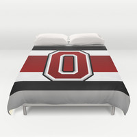 Ohio State Glove Stripe Duvet Cover by Timothy Davis
