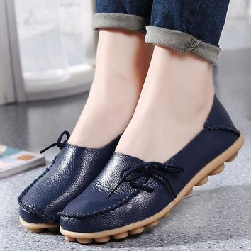 Women Flats Soft Genuine Leather Shoes Women Moccasins Shallow Breathable Casual Mother Loafers Flats Shoes Female Slipony