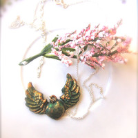 green Heart pendant heart necklace  heart jewelry wings necklace for her