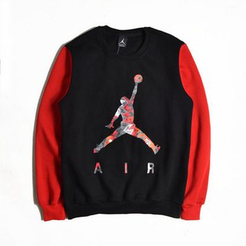 Basketball sweater Men 's head sports long - sleeved autumn and winter coat round neck