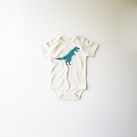 Dinos! T-Rex Organic Bodysuit in Natural