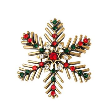 Classic Beautiful Snowflake Crystal Brooches The Creative Alloy Retro Corsage Needle Gift