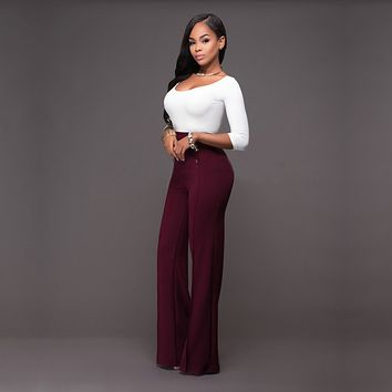 OL New Fashion 2017 Spring and Summer Womens Casual Slim High Waist Flare Wide Leg Palazzo Long Trousers Pants Bell-Bottom