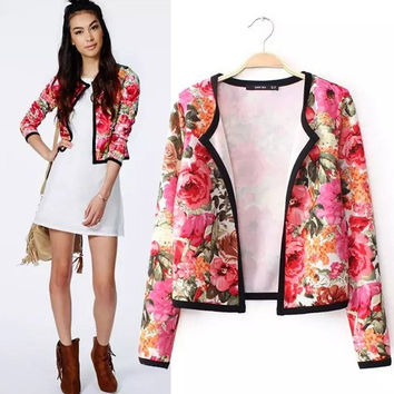 Women Floral Print Short Coat Jacket Blazer Blouse Tops Shirt OL Cardigan  A_L = 1655768452