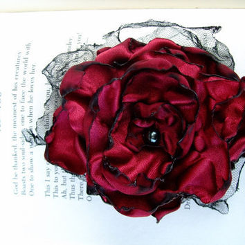 Red Flower Accessory Hair Clip or Pin Brooch by OurPlaceToNest