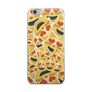 Heart Eyes Cat Emoji Collage Cute Teen Girly Girls Red & Yellow iPhone 4 4s 5 5s 5C 6 6s 6 Plus 6s Plus 7 & 7 Plus Case