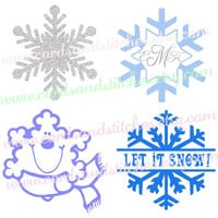 Snowflake Decal - Snowflake Personalized Decal or Iron-on Transfer (Glitter or Mat) for Shirts and More - Bumper Stickers - Computer Decal