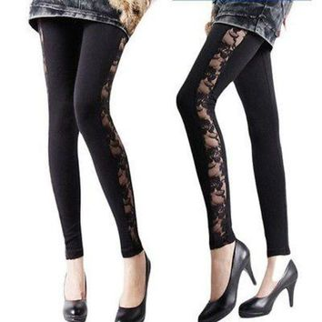 MDIG4F New Ladies Womens Leather Look Leggings Jeggings Lace Stretch Panel Black Look Leggings Jeggings Lace