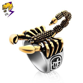 OFF-XXL Punk Vintage Scorpion Pattern Mens Ring Antique Silver Gold Color Round Stainless Steel Titanium Rings for Male Jewelry