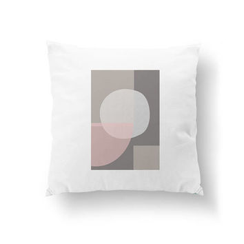 Pink Gray Pillow, Geometric Shape, Cushion Cover, Pastel Textures, Decorative Pillow, Simple Art, Abstract Pattern, Throw Pillow, Home Decor