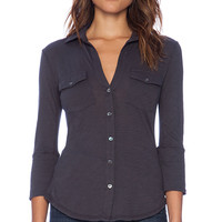 James Perse Contrast Panel Shirt in Charcoal