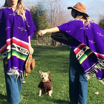 Vintage 1970's Purple Mexican Blanket Poncho Striped Serape Woven Cotton Southwestern Fringe Cape || One Size