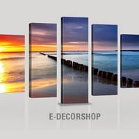 CANVAS ART - Beach-Sunset Canvas Print | Framed Large Size 5 Panel Wall Art Canvas Printing
