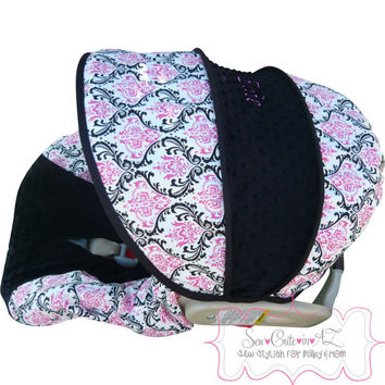 Madison With Hot Pink And Black Infant Car Seat Cover