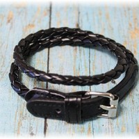 Black leather look braid and buckle braclet