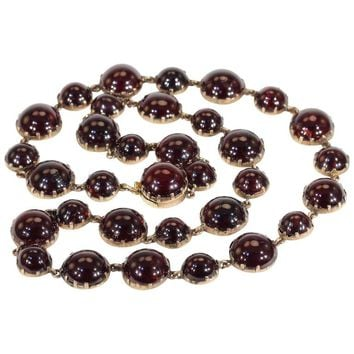 Antique Georgian Gold Cabochon Garnet Necklace