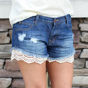 Wild Run Lace Denim Shorts