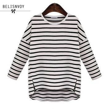 XL-5XL Plus Size Women Clothing 2018 Autumn Casual Loose Striped Long Sleeve Slit All-match Basic T-shirts Oversized Tops Tees