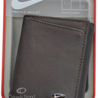 Nike Golf Leather Wallet Brown Genuine Passcase Tri-fold Mens Billfold Boys