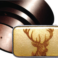 INTERCHANGEABLE belt buckle, DEER magnetic buckle, Hunting Wooden buckle, Laser etched wooden belt buckle, mens buckles