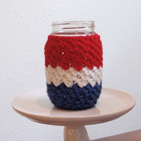 Koozie July 4th Pint Mason Jar Cozy Red, White, Blue Tea Cosy Eco Friendly