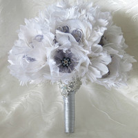 Wedding Heirloom Bouquet, Bridal Bouquet, Feather Bouquet, Brooch Bouquet, Peony Bouquet, White, Grey, Gray, Rhinestone, Pearl, Elegant