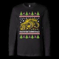 Monster truck ugly christmas sweater