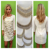 Gold & Silver Scallop 3/4 Sleeve Dress