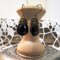 Onyx Wire Wrapped Earrings - Fair Trade
