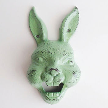 Rabbit Bottle Opener, Bunny Beer Opener, Green Jackrabbit Pub Decor, Metal Wall Mount Opener