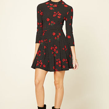 Floral Dotted Print Skater Dress