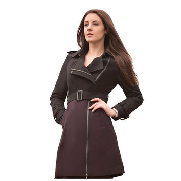 Women's Wool Pea Coat with Mix Color / Purple