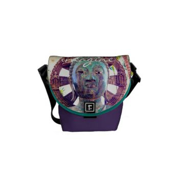 Imagine turquoise statue photo mini messenger bag