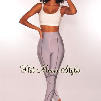 WAIST SNATCHED: Gray Bandage High Waist Moto Pants