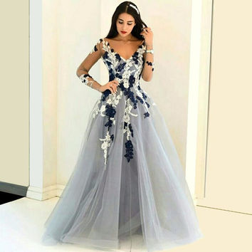 Hot Sale Light Gray Tulle Prom Dress 2017 Long Sleeves Flower Evening Gowns Sexy Middle East Saudi Arabia Lady Party Gowns