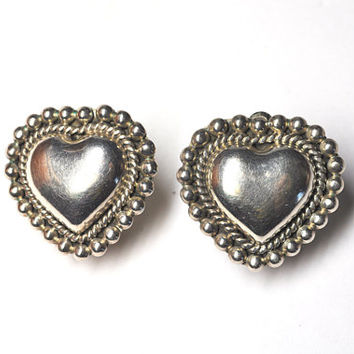 ON SALE Vintage TAXCO 925 Silver Beaded Heart Clip Earrings, Mexico, Hearts, 3D, Bold, Chunky, Feel the Love! #b025