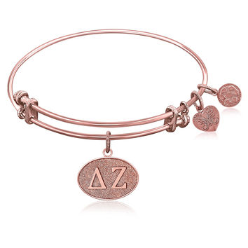 Expandable Bangle in Pink Tone Brass with Delta Zeta Symbol