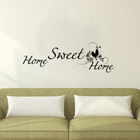 Wall Decals Home Sweet Home  Quote Decal Vinyl Sticker Bird Branch Decal Home Decor Bedroom Dorm Living Room MN 144