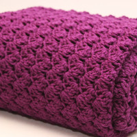 Crochet Throw Afghan Blanket - Dark Purple Orchid