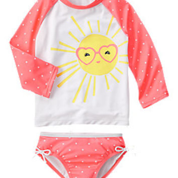 Polka Dot Sun Rash Guard Set